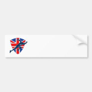 Runner Sprinter Start British Flag Shield Bumper Sticker