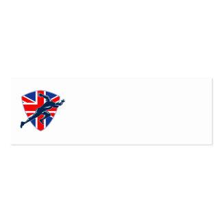 Runner Sprinter Start British Flag Shield Business Card Templates