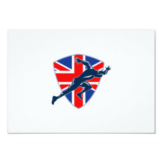 "Runner Sprinter Start British Flag Shield 3.5"" X 5"" Invitation Card"