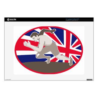 runner track and field athlete british flag laptop skin