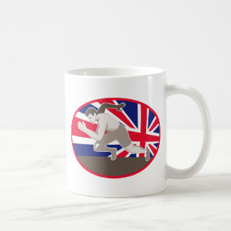 runner track and field athlete british flag classic white coffee mug