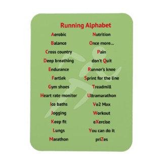 Runners alphabet green sport magnet