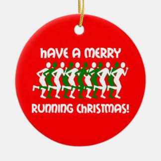 runners Christmas Ceramic Ornament