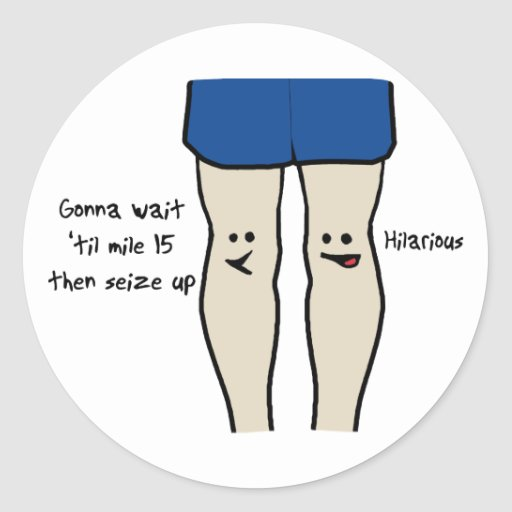 Runners Knees Round Stickers