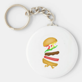 Runnin burger basic round button keychain