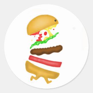 Runnin burger classic round sticker