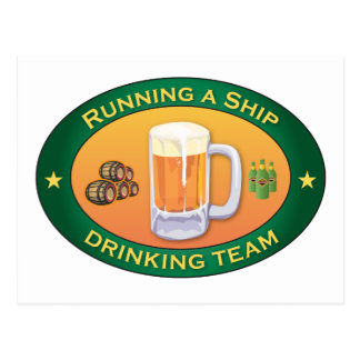 Running a Ship Drinking Team Postcard