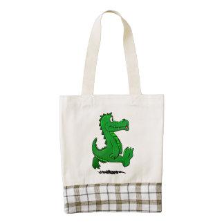 Running alligator zazzle HEART tote bag