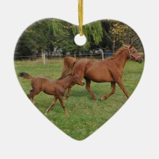 Running Arabian Horses - Mom and Foal Ceramic Ornament