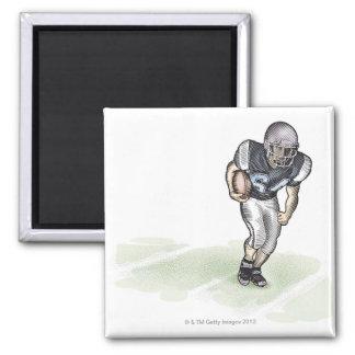 Running Back scratchboard illustration 2 Inch Square Magnet