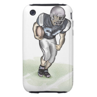 Running Back scratchboard illustration Tough iPhone 3 Cover