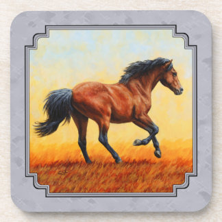 Running Bay Horse Slate Gray Beverage Coaster