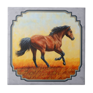 Running Bay Horse Slate Gray Ceramic Tile