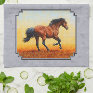 Running Bay Horse Slate Gray Hand Towel