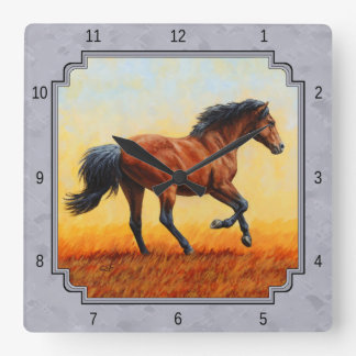 Running Bay Horse Slate Gray Square Wall Clock