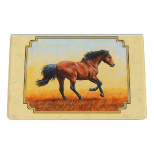 Mustang business card holders cases zazzle running bay horse yellow desk business card holder reheart Gallery