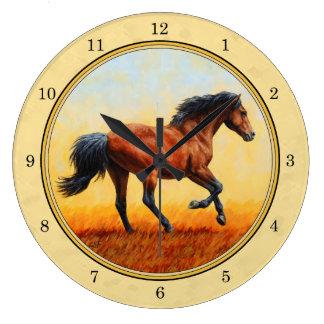 Running Bay Horse Yellow Large Clock