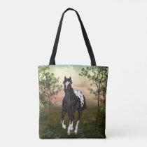 Running Black Appaloosa Horse Tote Bag