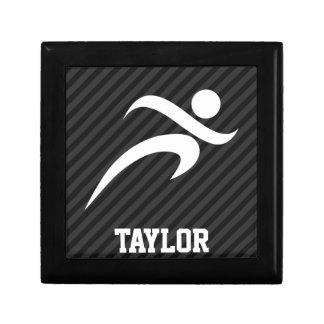 Running; Black & Dark Gray Stripes Trinket Boxes