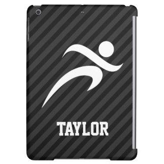 Running; Black & Dark Gray Stripes iPad Air Cases