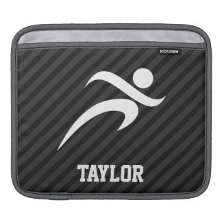 Running; Black & Dark Gray Stripes iPad Sleeve