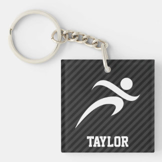 Running; Black & Dark Gray Stripes Double-Sided Square Acrylic Keychain