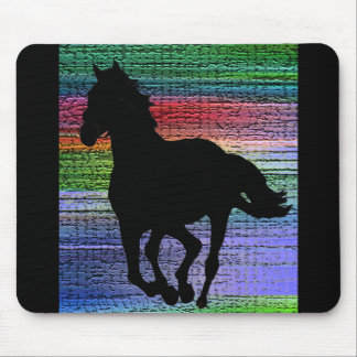Running Black Horse Mouse Pad