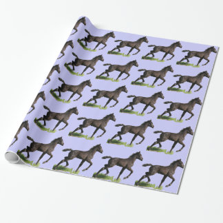 Running Black Horse Pony Colt Wrapping Paper