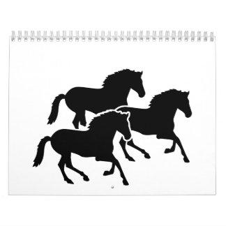 Running black horses calendar
