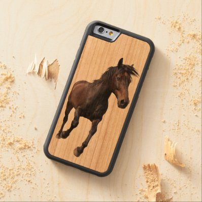 Running Black Percheron Horse-lover Equine Design Carved® Cherry iPhone 6 Bumper Case