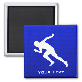Running; Blue 2 Inch Square Magnet