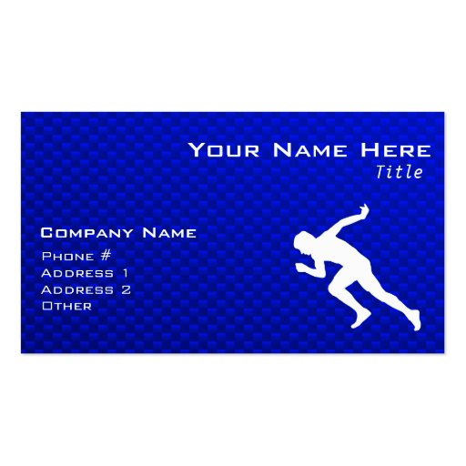Running; Blue Business Card Templates