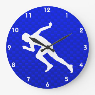 Running; Blue Large Clock