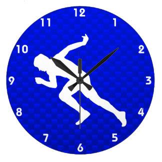 Running; Blue Large Clock