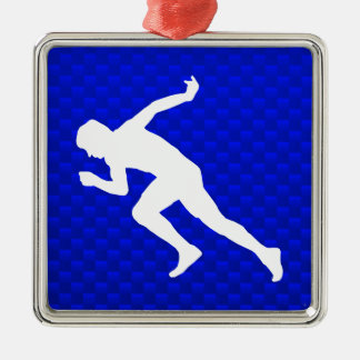 Running; Blue Metal Ornament