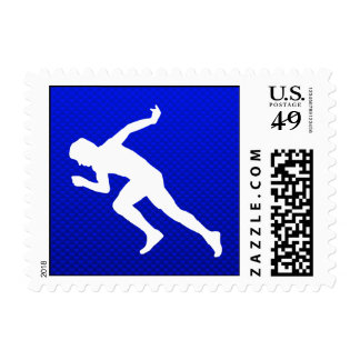 Running; Blue Postage Stamps