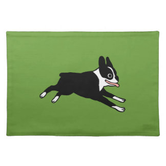 Running Boston Terrier Cloth Placemat