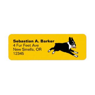 Running Boston Terrier Label