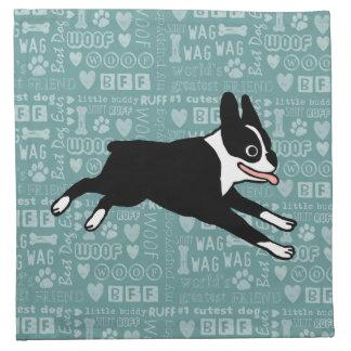 Running Boston Terrier Cloth Napkins