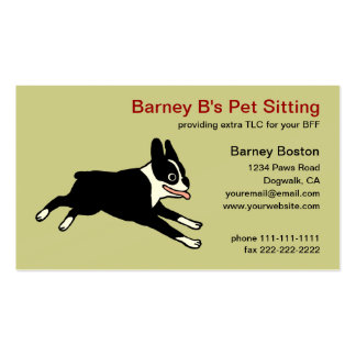 Running Boston Terrier - Pet Care Business Card