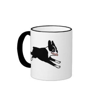 Running Boston Terrier Ringer Mug