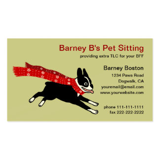 Running Boston Terrier Wearing Red Winter Scarf Business Card