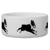 Running Boston Terriers Dog Bowl
