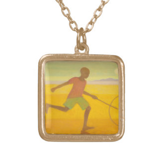 Running Boy 2010 Gold Plated Necklace