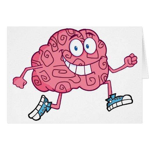 E Card Cartoon Characters : Running brain cartoon character greeting card zazzle