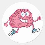 Running Brain Cartoon Character Classic Round Sticker
