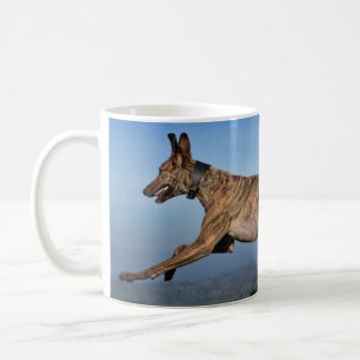 Running Brindled Lurcher Greyhound Coffee Mug