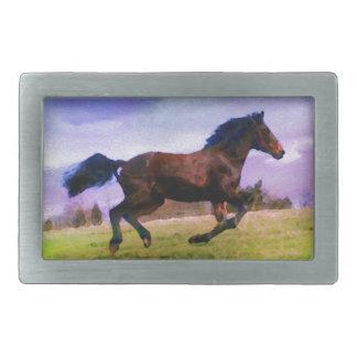 Running Brown Horse Pony Foal Western Equestrian Belt Buckle