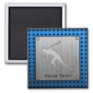 Running; Brushed Metal-look 2 Inch Square Magnet