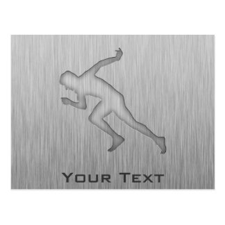 Running; Brushed Metal-look Postcard